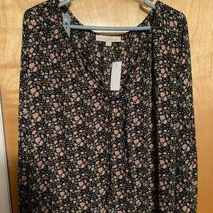 LOFT Black Floral Blouse NWT